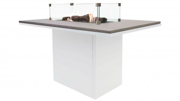 cosi fires cosiloft relax table white grey with glasset dining feuertisch