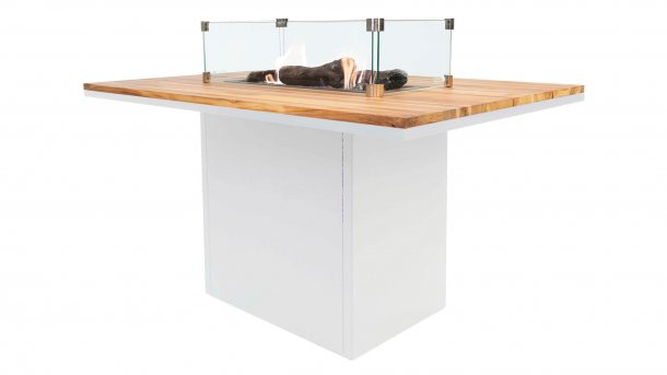 cosi fires cosiloft relax table white teak with glasset Dining tisch